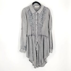 Solitaire Long Sleeve Acid Wash Embroidered Dress